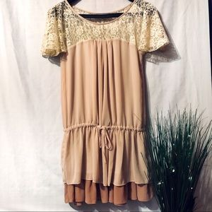 ⬇️A'reve Beige Tiered Tunic with Tie Front
